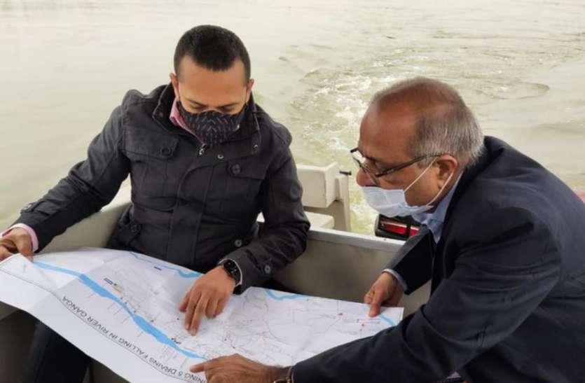 10 किलोमीटर गंगा यात्रा के दौरान कमिश्नर ने हकीकत देखने के बाद दिए निर्देश