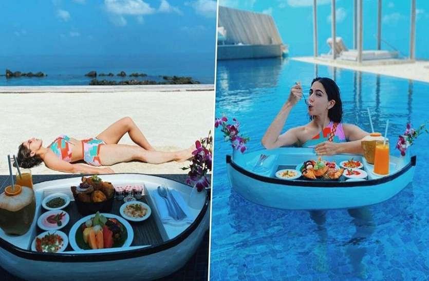सारा अली खान ने मालदीव में बिकिनी पहनकर किया लंच, स्विमिंग पूल से शेयर की हॉट फोटोज़