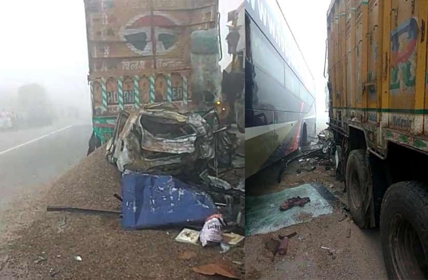 आगरा—लखनऊ एक्सप्रेस वे पर भिड़े कई वाहन, बस चालक की मौत, दर्जन भर से अधिक घायल