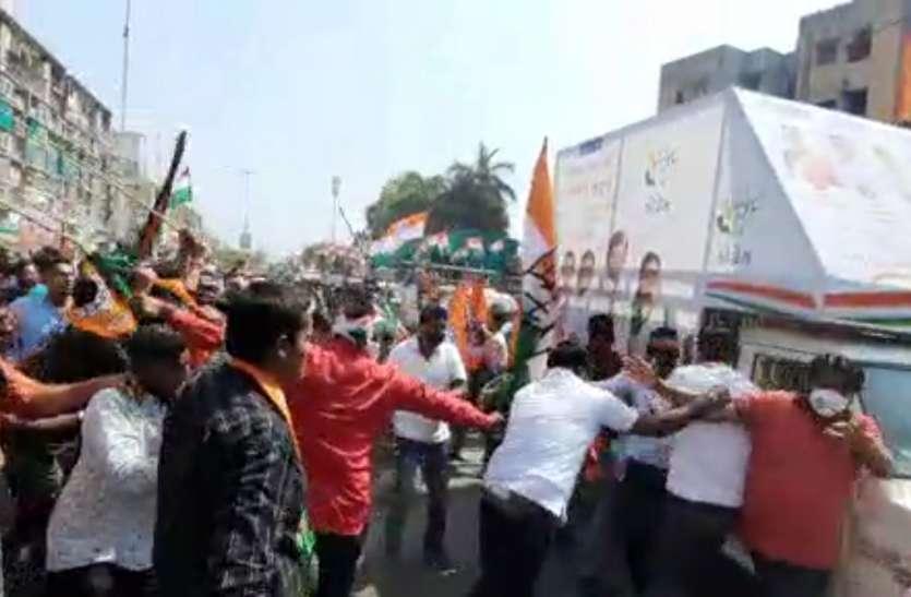 भाजपा-कांग्रेस की रैली में आपसी संघर्ष, मारपीट व पथराव