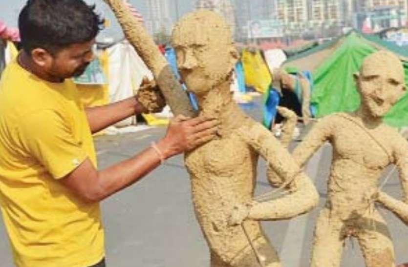 किसान आंदाेलन : गाजीपुर बॉर्डर पर उड़ीसा के कलाकार बना रहे किसानाें की दुर्दशा दिखाती प्रतिमाएं