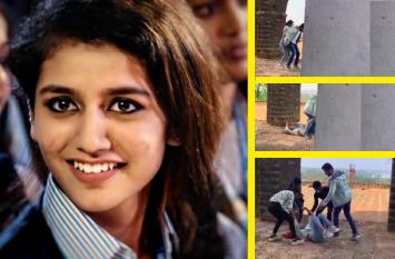 Video : विंक गर्ल प्रिया प्रकाश ने की भागकर हीरो की पीठ पर चढ़ने की कोशिश, धड़ाम से गिरी फर्श पर