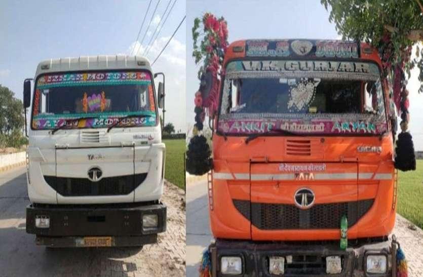 अवैध बजरी से भरे तीन ट्रक पकड़े