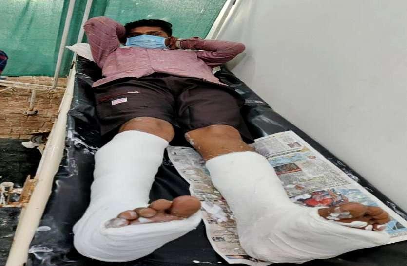 शराब तस्कर का आबकारी टीम पर जानलेवा हमला, इंस्पेक्टर की गाड़ी को ठोकर मारकर किया जिंदा कुचलने का प्रयास, चालक के दोनों पैर टूटे