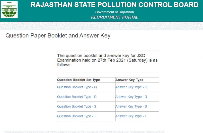 RSPCB Answer Key 2020: जेएसओ और जेईई भर्ती परीक्षा की Answer Key जारी, यहां से करें चेक