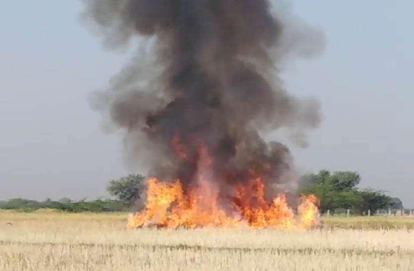 खेत में कटी पड़ी सरसों की फसल में लगी आग, पकी फसल हुई राख
