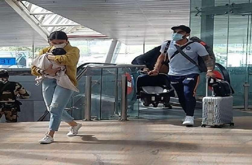 बेटी वामिका को गोद में लिए एयरपोर्ट पर दिखीं अनुष्का शर्मा, विराट कोहली ने निभाते दिखे पिता का फर्ज