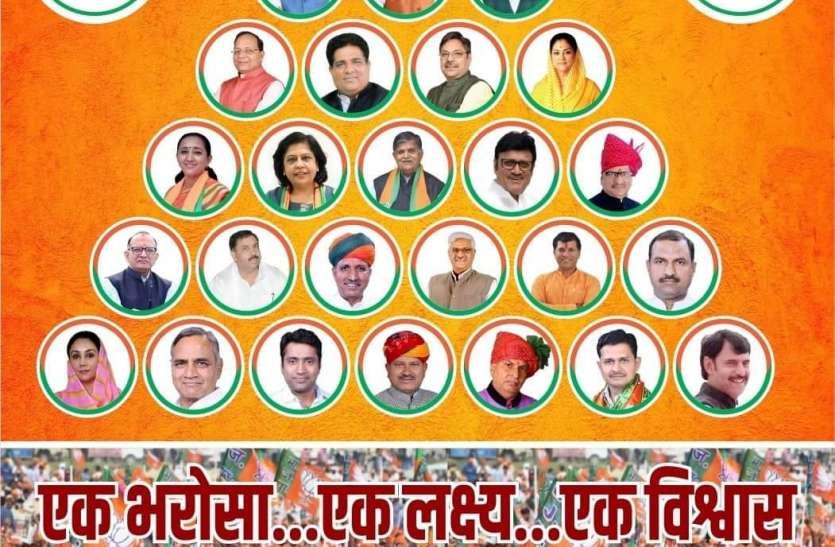 फिर पोस्टर में आधा दर्जन नेताओं के फोटो गायब, मगर राजे को किया शामिल