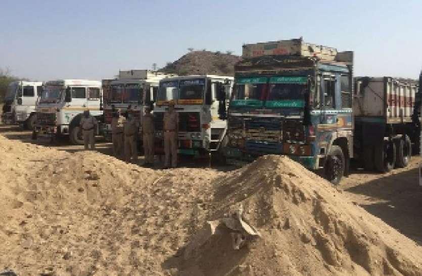 बजरी से भरे इतने वाहन पकड़े कि लग गई लाइन
