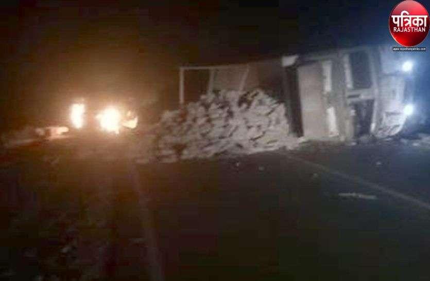 पाली : ट्रक-लोडिंग जीप में भिड़ंत, ट्रक चालक की मौत, जीप में आग