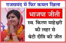 राजसमंद में किरण की बेटी दीप्ति जीती, फिर खिला कमल