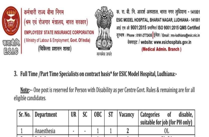 ESIC Ludhiana Recruitment 2021: इस विभाग में निकली 52 रिक्त पदों पर भर्ती, जल्द करें आवेदन