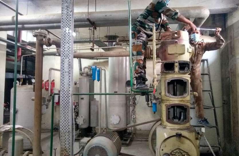 सहारनपुर मेडिकल कॉलेज में सैन्यकर्मियों ने चालू किया ऑक्सीजन प्लांट