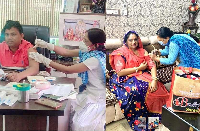 कांग्रेस MLA के बाद अब BJP विधायक की पत्नी ने घर पर लगवाया टीका, सोशल मीडिया पर फूट रहा लोगों का आक्रोश