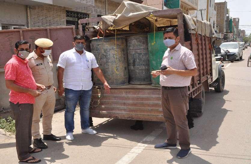 अवैध डीजल का परिवहन, रसद विभाग की टीम ने 2530 लीटर डीजल जब्त किया
