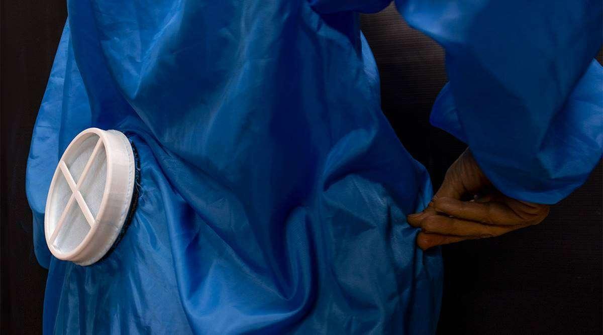 वेंटिलेशन बेल्ट जो पीपीई किट को त्वचा से चिपकने नहीं देगी