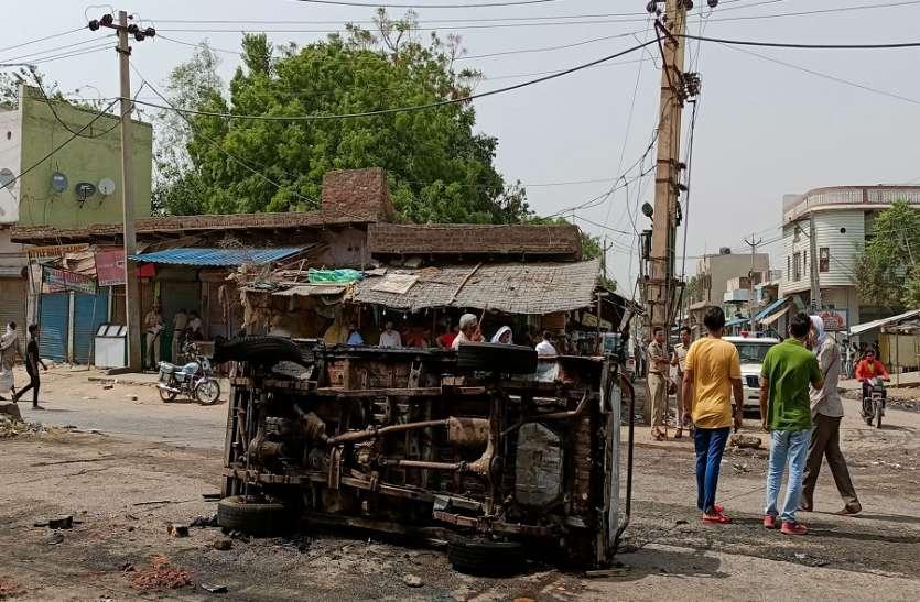 मेवात: पुलिस पर पथराव, जिप्सी की आग के हवाले