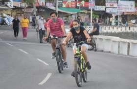 फतहसागर पाल पर मॉर्निंग वॉक , साइकलिंग करते शहरवासी देखें तस्वीरों में