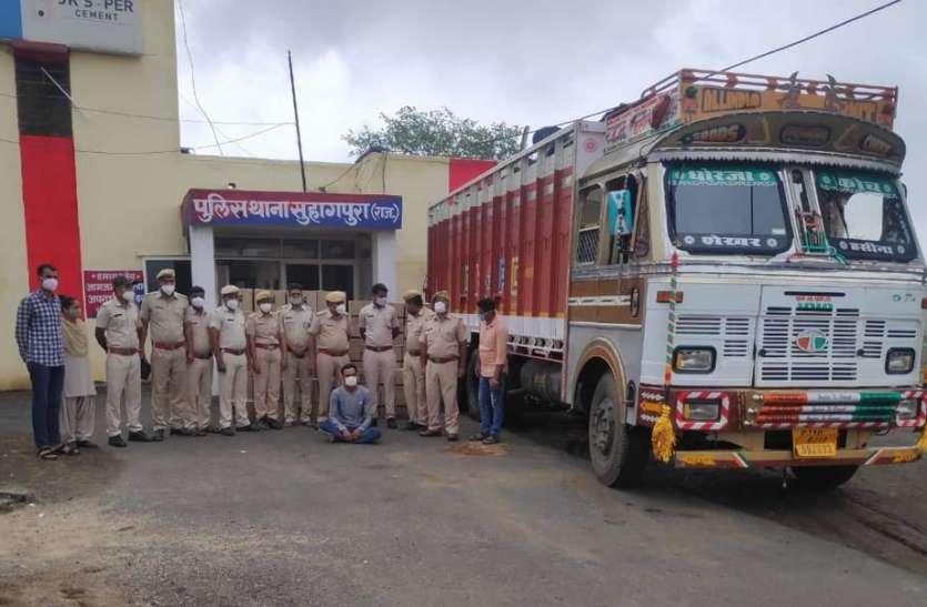 गुजरात ले जाई जा रही 374 कर्टन शराब बरामद