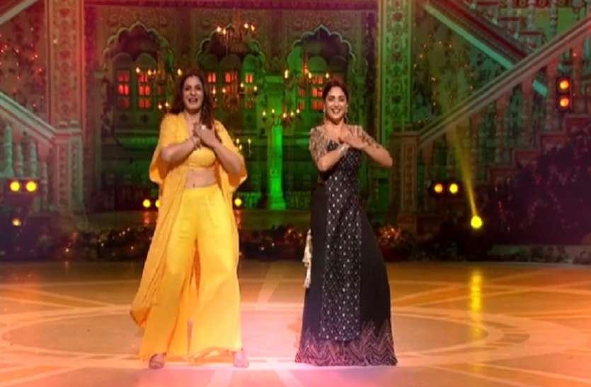 Raveena Tandon dances vigorously with Madhuri, sets the stage on fire