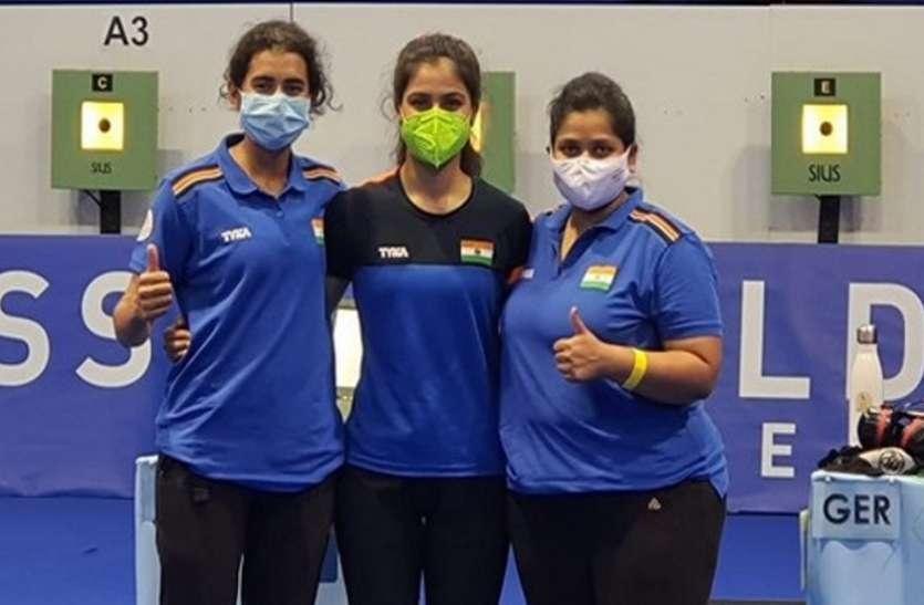 मनु-यशस्विनी-सरनोबत की भारतीय तिकड़ी ने 10मी. एयर पिस्टल टीम ने कांस्य पदक जीता