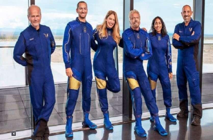 Richard branson and sirisha bandla return after virgin galactic space flight 56 minute Journey