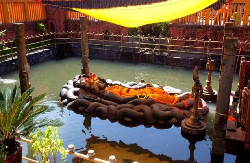 Here Lord Vishnu is sleeping on Sheshnag