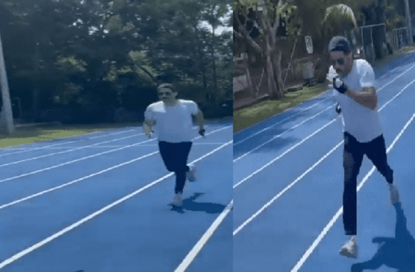 Anil Kapoor age of 64 who is seen running agilely on the track