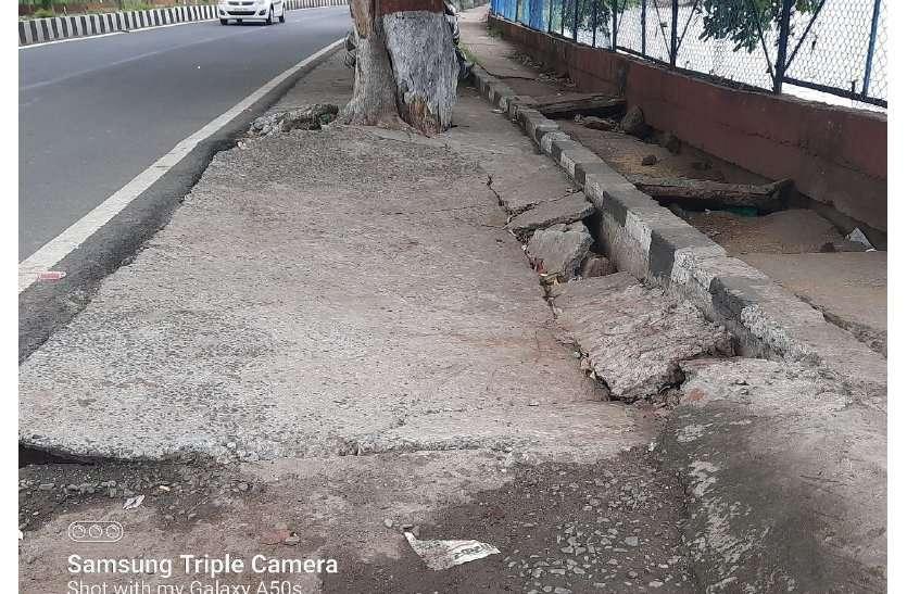 शाहपुरा तालाब के पास 60 लाख रुपए खर्च कर डेढ़ साल पहले बनाई स्लैब धंसी, दुर्घटना की आशंका