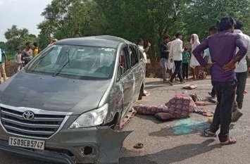 गोठ मांगलोद माता के दर्शन कर लौट रहे थे हैदराबाद, नीलगाय को बचाते इनोवा पलटी, एक की मौत, चार गंभीर घायल