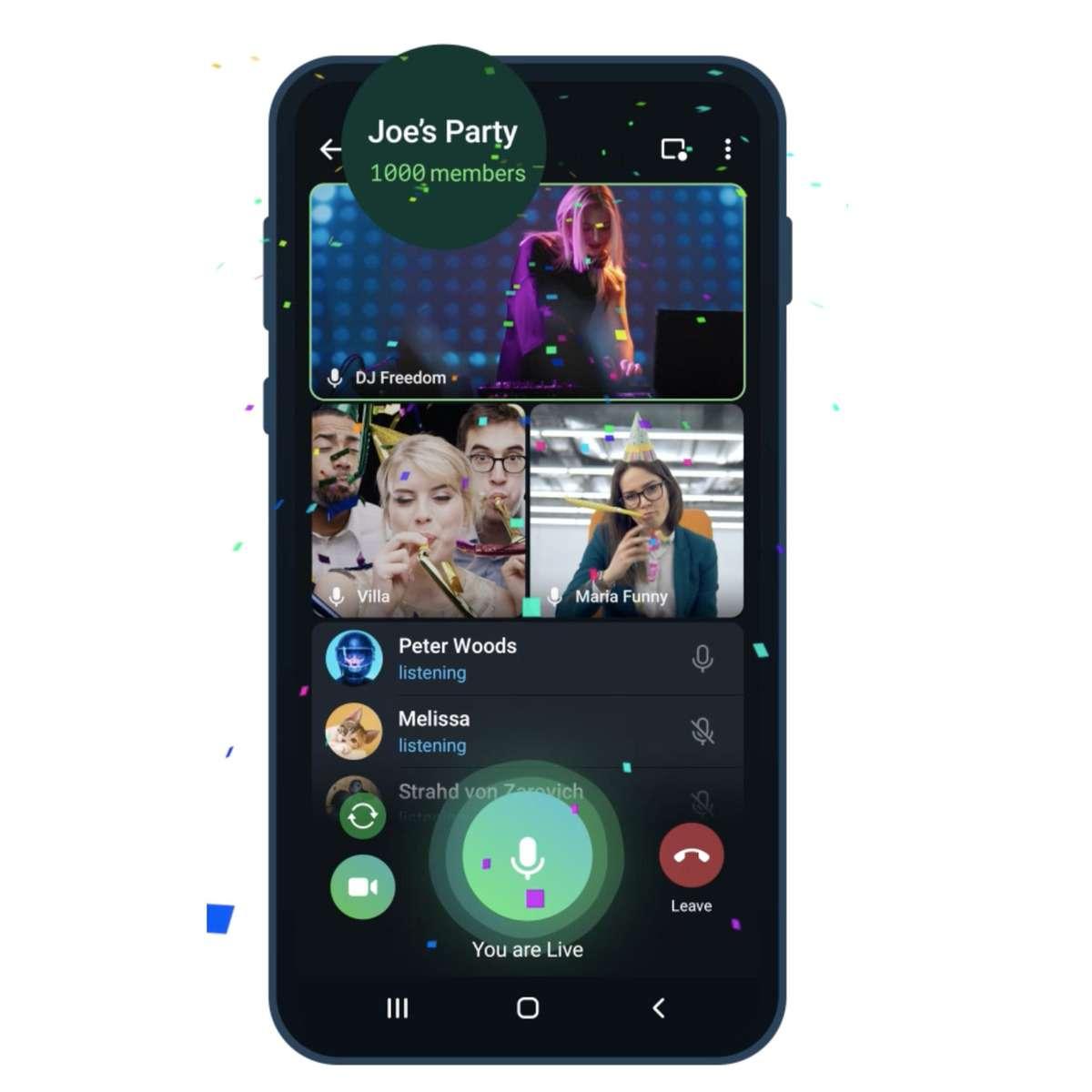 1000 people in a Telegram video call