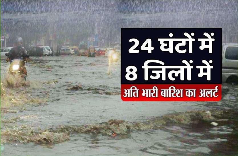 मौसम विभाग ने जारी किया अलर्ट, 24 घंटों में 8 जिलों में भारी से अति भारी बारिश की चेतावनी