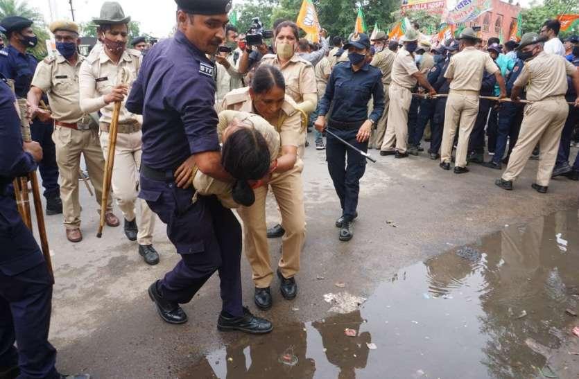 भाजपा का 'हल्ला-बोल', धक्का-मुक्की में दो पुलिसकर्मी चोटिल, एक बेहोश