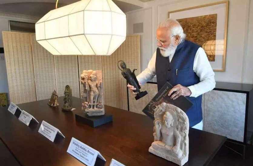 अमरीका ने पीएम मोदी को लौटाईं 157 कीमती कलाकृतियां, 8.5 सेंटीमीटर लंबे कांस्य के नटराज भी लाए