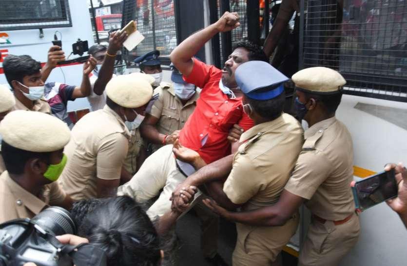 भारत बंद: चेन्नई में प्रदर्शनकारी और पुलिस में झड़प, प्रदर्शनकारियों को पुलिस ने हिरासत में लिया