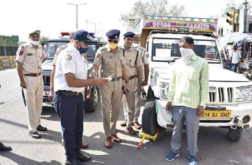 यातायात पुलिस का नो-पार्किंग अभियान शुरू