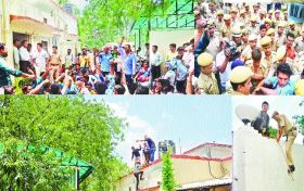 मंत्री के घर में घुसकर हंगामा, पुलिस ने धक्के मार निकाला
