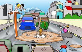 बारिश ने सड़कों को बनाया तालाब