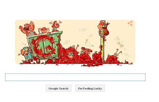 गूगल ने डूडल बनाकर मनाया टमाटरों का त्यौहार 'ला टोमाटिना'