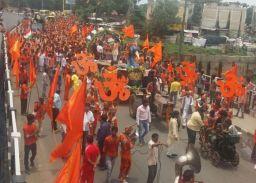 बाणेश्वरी कांवड़ यात्रा पहुंची इंदौर, 'बोल...बम' के जयकारों से गूंजा राजबाड़ा