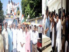 राहुल जनसंदेश यात्रा के दौरान आपस में भिड़ गये कांग्रेस कार्यकर्ता