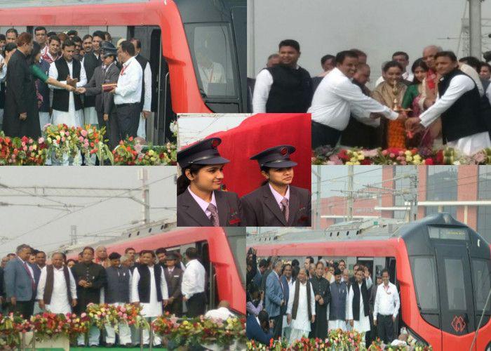 CM अखिलेश ने मेट्रो को दिखाई हरी झंडी, आजम बोले- अब तो तारीफ कर दीजिए नेताजी
