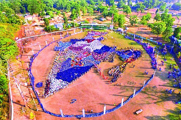 बन गया रिकार्ड, जब हजारों बच्चों ने बनाया भारत का नक्शा, एक साथ गाया राष्ट्रगान