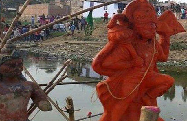 हनुमान मंदिर तोड़ने की अफवाह, शहर में फैला तनाव
