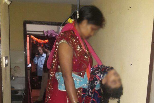 मेहंदी सजाई, लाल जोड़ा पहना और बेटी का गला घोंट फंदे पर झूली ' मां'