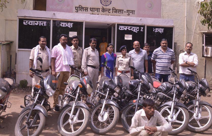 चोरी की सात बाइकों समेत दो को पुलिस ने पकड़ा