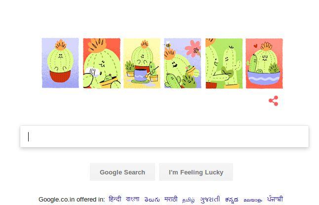 Mother's Day पर गूगल ने बनाया कैक्टस का आकर्षक डूडल