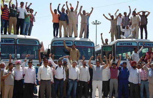 रोडवेज कर्मचारियों का हंगामा, 4 हजार बसों का होगा चक्का जाम