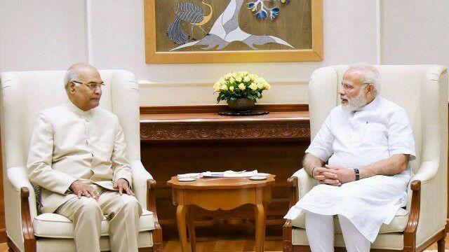 राष्ट्रपति प्रत्याशीरामनाथ कोविंद ने की पीएम मोदी और शाह से मुलाकात