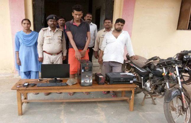 कम्प्यूटर चोर गिरोह को पामगढ़ पुलिस ने पकड़ा  मानीटर, कंप्यूटर जब्त
